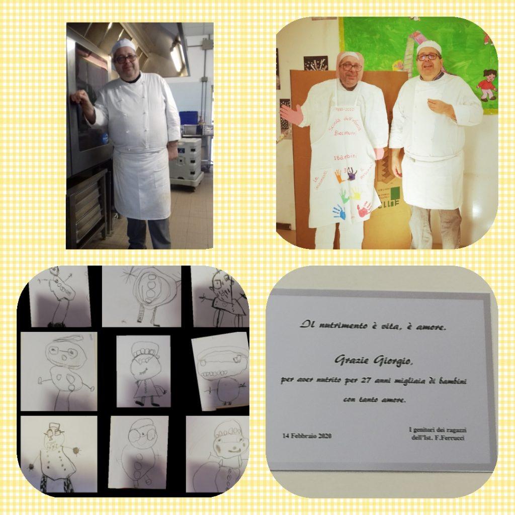 Foto della festa di pensionamento del cuoco Giorgio